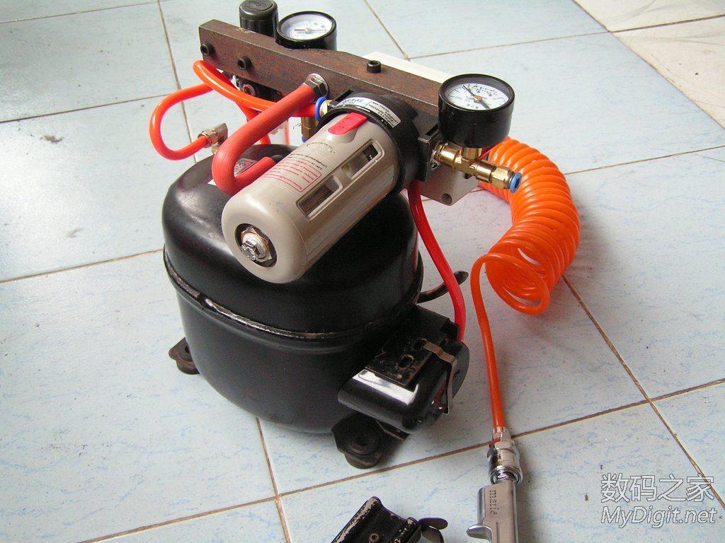 冰箱压缩机改装的真空 空压两用气泵