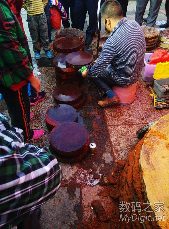 江湖佬之现场制作越南红铁木砧板