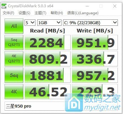 950 pro 256G初步测试
