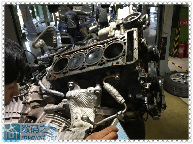 新款奥迪C7烧机油发动机大修开始高清图片