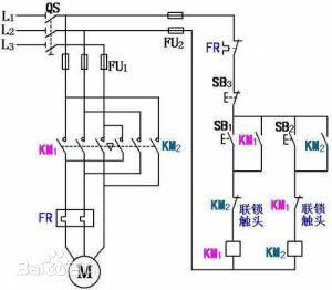 电机正反转电路图 同时按正转反转按键会有什么后果?