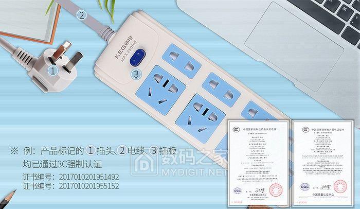 韩电新国标插排9.9包邮!最低价新国标,1平方超粗线,安全门,全面通过3C认证!