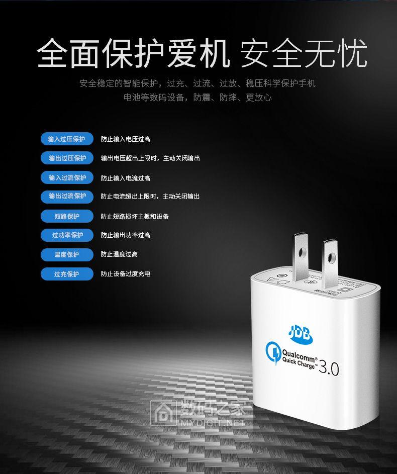 数码之家专属优惠来啦!JDB QC2.0快速充电器券后19元包邮!!