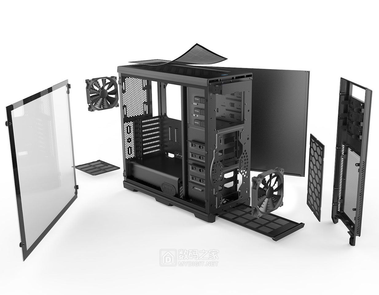 贴心防尘操作面板+魔术扩展空间 追风者第二代Enthoo PRO全塔机箱