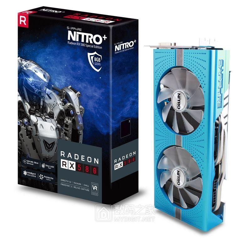 约2890元、闷骚宁静典范 蓝宝石NITRO+ RX 580 8G GDDR5超公版显卡
