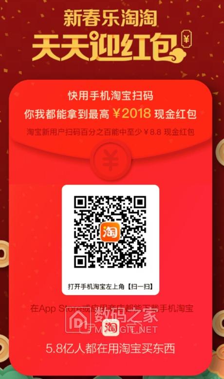 撸淘宝18.8元无门槛现金红包+188元礼包,乐视QC3.0快充头0元购