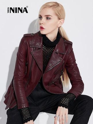诺贝妮娜2018新款绵羊皮真皮皮衣女中长款风衣修身显瘦机车皮夹克
