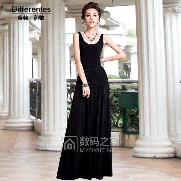 春夏季长款连衣裙a字裙黑色吊带背心长裙打底裙修身气质拖地裙女