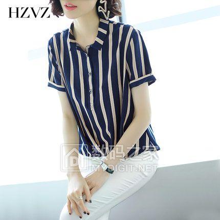 HZVZ竖条纹衬衫女短袖2018夏季新款衬衣宽松雪纺上衣长袖春装韩版