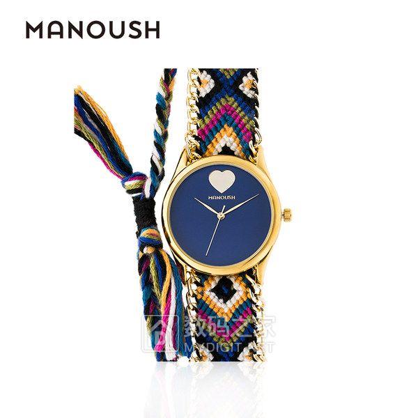 MANOUSH法国进口腕表女士石英手表潮流波西米亚风编织布表带正品