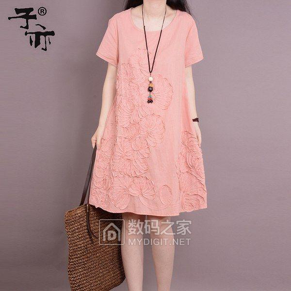 子亦2018夏装韩版新款大码短袖女装中长款绣花棉麻连衣裙女