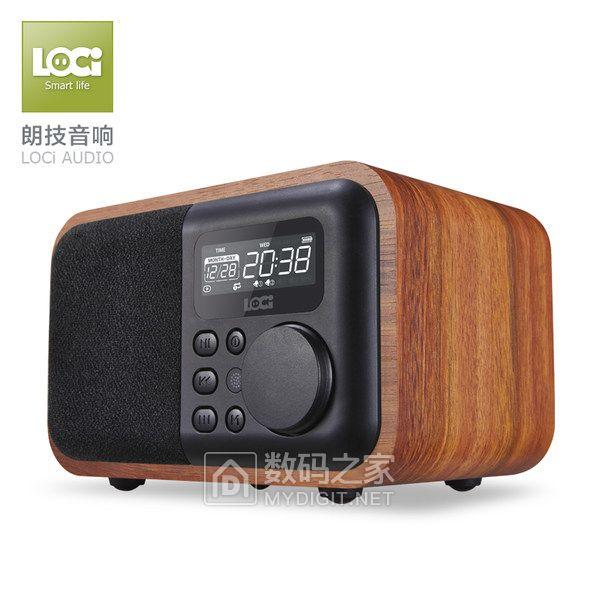 朗技 D90复古收音机木质蓝牙音箱便携式迷你插卡充电闹钟U盘音响