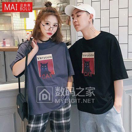 情侣装夏季2018新款潮流短袖t恤韩版学生夏装卡通bf印花半袖上衣