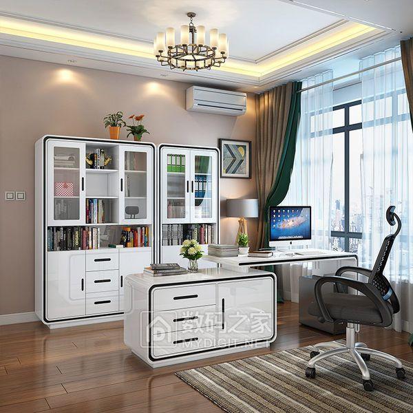 现代简约三门书柜书桌书架自由组合 书房烤漆玻璃门简易家具柜子