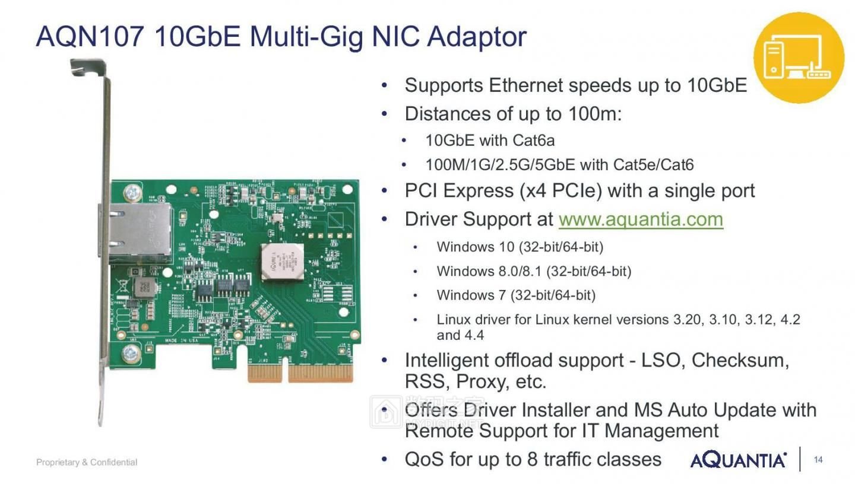 就等支持的路由器降价了 Aquantia发布百元级万兆电竞网卡AQN-107