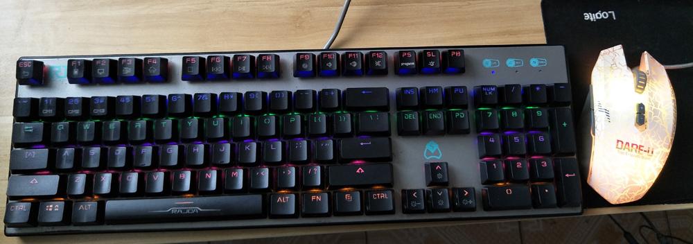 二手网吧电竞游戏插拔轴机械键盘青轴+达尔优鼠标套装雷迦RJ-K615/新贵GM370
