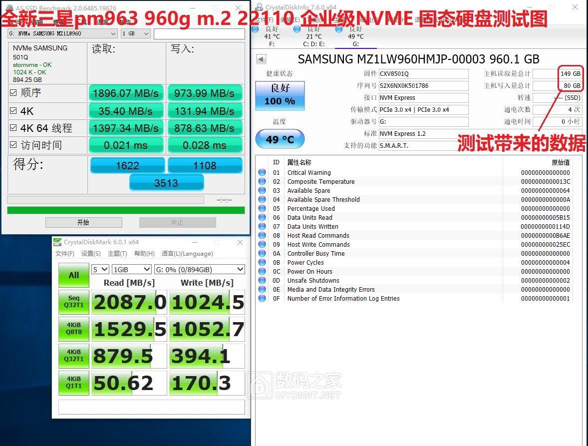 限时全新PM963 960G =6