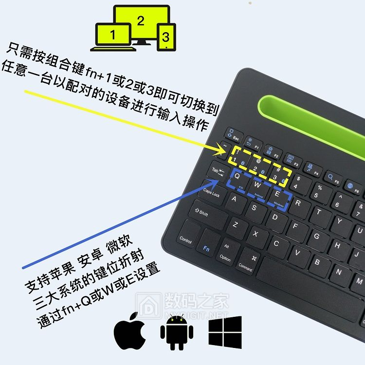 智能蓝牙键盘!可同时链接控制3台设备!切换控制快!带大触摸板支持多指手势!多功能